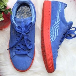 EUC Puma Suede Classic + Stripes Blue & Orange